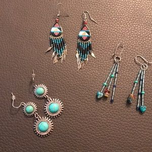 Jewelry - Lot of 3 pairs of Southwest style earrings